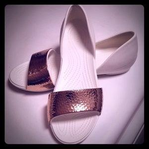 Womens Crocs Brand Lina Dorsay Open Toe Flats